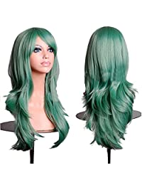 """RoyalStyle 28""""70cm Long Wavy Universal Cosplay Wigs Party Hair for Woman (Green)"""