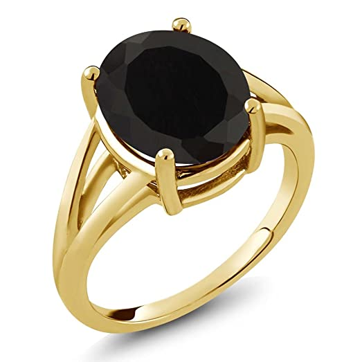Amazon 4 10 Ct Oval Black yx 14k Yellow Gold Ring yx