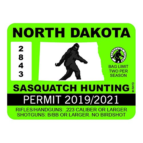 "RDW North Dakota Sasquatch Hunting Permit - Color Sticker - Decal - Die Cut - Size: 4.00"" x 3.00"""