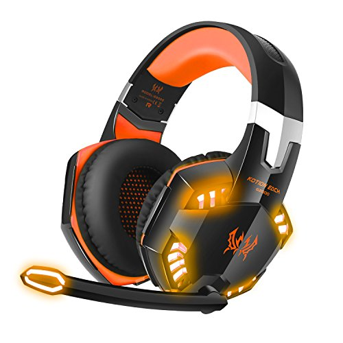 Stereo Bass Surround Gaming Headset, Homgrace Over Ear Gaming Headphones with Mic, Noise Reduction, LED Lights and Volume Control for Laptop, PC, Mac, iPad, Smartphones ( Orange)