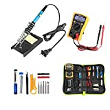 Soldering Iron Kit,HomeYoo 60W Adjustable Temperature Soldering Iron Gun Kit with 5 Soldering Tips,Upgraded Welding Kit for Various Repair-Digital Multimeter,Screwdriver,Soldering Iron Stand(17pcs Set