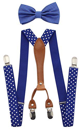 - JAIFEI Suspenders & Bowtie Set- Men's Elastic X Band Suspenders + Bowtie For Wedding, Formal Events (Dots-Royal Blue)