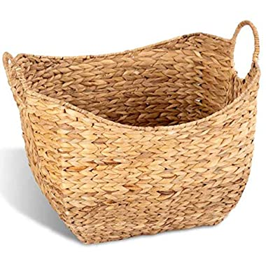 Giantex Seagrass Laundry Storage Basket Woven Natural Water Hyacinth Braided Laundry Basket with Two Handles Organize Toys, Clothes, Home Decor for Kids Room, Living Room, Bedroom