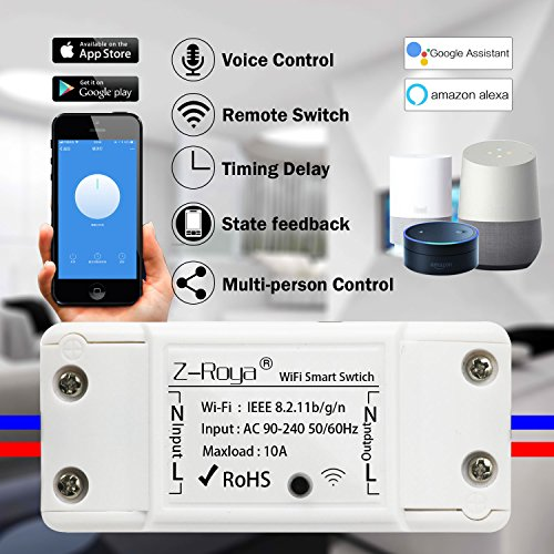 - Wifi Switch,Z-Roya Smart WiFi Wireless Switch Remote Control for Home Appliances and Lamps DIY Smart Home Compatible with Alexa and Google Home-1 Pack