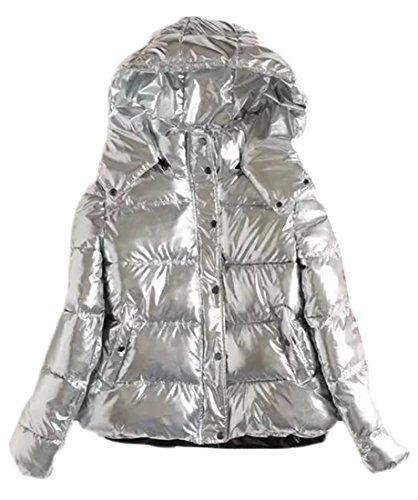 ARRIVE GUIDE Womens Winter Warm Metallic Hooded Button Parka Jackets Outwear Silver S (Jimmy Jacket Womens)