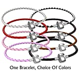 Braided Leather Charm Bracelet For Women, Fits European Charms, Barrel Snap Clasp
