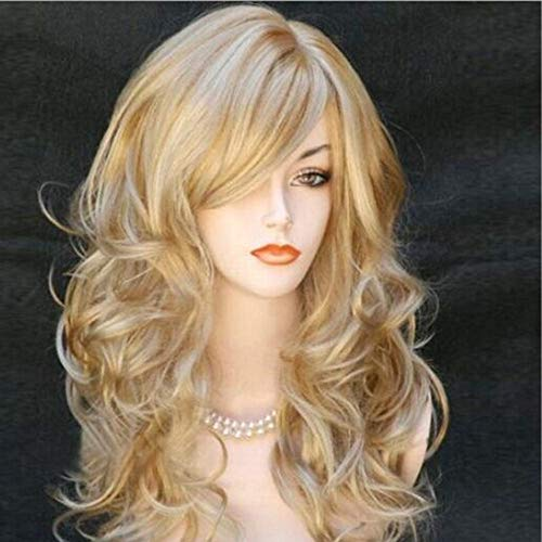 Women's Ombre Wigs Synthetic Long Wavy Blonde Highlights Full Wig (a)