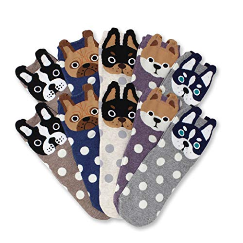 (LIVEBEAR Women's 4/5 Pair Cute Large Print Funny Novelty Crew Socks Made In Korea, Mother's Day Gift (Dog 10 Pack))