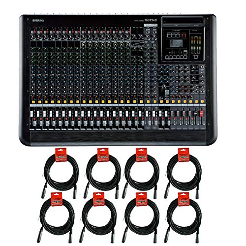 (Yamaha MGP24X 24-Channel Premium Mixing Console with 24-channel, 4-bus Analog Mixer with 16 Mic/24 Line Inputs, 6 AUX Sends and Onboard Effects Analog Mixer Bundle with 8 Unit of 20' Microphone Cables)