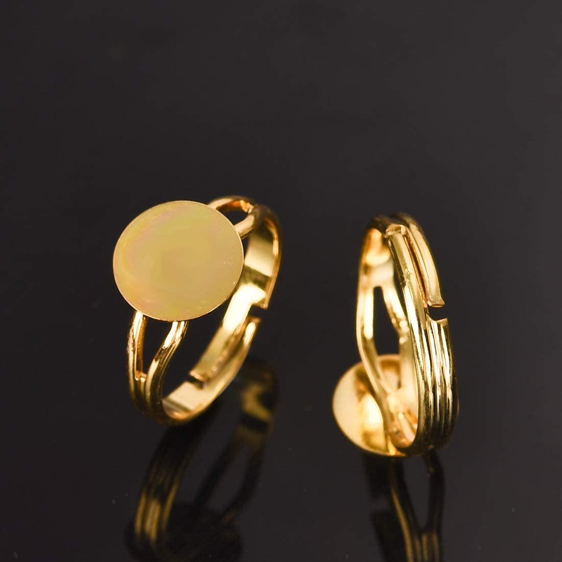 OBSEDE Gold and Silver Plated Adjustable Ring Blanks with 12mm Flat Base 40Pcs Blank Finger Rings Total