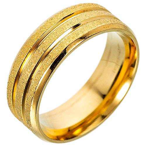 AWLY Gold Plated Wedding Engagement Band for Men Sandblast Finish Stainless Steel Lucky Worry Ring Size 8