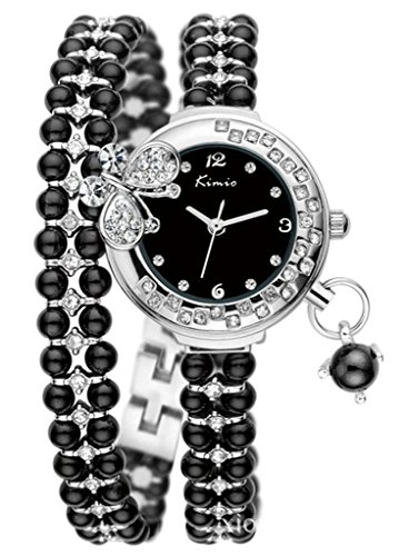 Tidoo Brand Watch Silver Plated Black Beads, Bangle Bracelet Watch with Crystal Butterfly