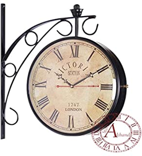 akhandstore victoria 10 inch clock dia metal railway clock double sided retro wall clock station clock