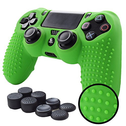PS4 Controller Grips,Pandaren Studded Anti-Slip Silicone Cover Skin Set Compatible for PS4 /Slim/PRO Controller(Green Controller Skin x 1 + FPS PRO Thumb Grips x 8)