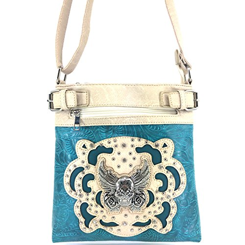 Laser Slot Phone Messenger Turquoise Concealed Bag Skull Roses Carry with Sugar Crossbody Tooled Justin West Purse Cut Winged Handbag and TqwUYUz