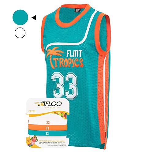 AFLGO 33 Flint Tropics Jackie Moon Semi Pro Basketball Jersey Include Set Wristbands S-XXL Green (Green, L)]()