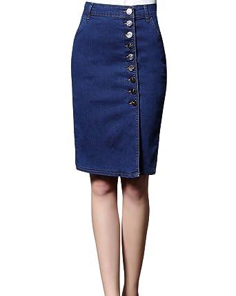 f6af3d0a9ba501 Kasen Femme Denim Jupe Jeans Stretch d'Été Retro Mini-Jupe Taille ...