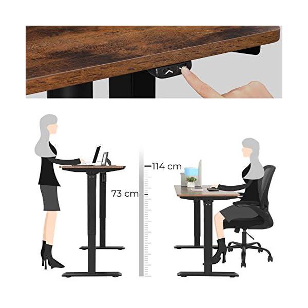 SONGMICS Bureau électrique réglable en hauteur en continu, Bureau assis-debout, avec moteur, longueur réglable, 140 x 70…