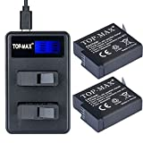 TOP-MAX AHDBT-501 Upgraded 2 Pack Replacement Battery and Dual Charger for GoPro HERO5, HERO 5 Black(Compatible with Firmware v02.00, v01.57, v01.55 and Future Updates)