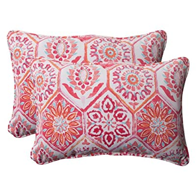 Pillow Perfect Outdoor Summer Breeze Corded Oversized Rectangular Throw Pillow, Flame, Set of 2 - Includes two (2) outdoor pillows, resists weather and fading in sunlight; Suitable for indoor and outdoor use Plush Fill - 100-percent polyester fiber filling Edges of outdoor pillows are trimmed with matching fabric and cord to sit perfectly on your outdoor patio furniture - patio, outdoor-throw-pillows, outdoor-decor - 51Qjttb4dYL. SS400  -