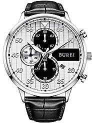 BUREI Latest Mens Watch Dress Chronograph Wristwatch Quartz Analog Watches for Men Fashion Casual Style