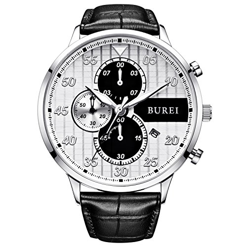 BUREI Latest Mens Watch Dress Chronograph Wristwatch Quartz Analog Watches for Men Fashion Casual Style