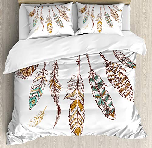 Ambesonne Hippie Duvet Cover Set, Graphic of Eastern Old Hippie Mysticism Image Print, Decorative 3 Piece Bedding Set with 2 Pillow Shams, Queen Size, Brown Mint