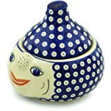 Polish Pottery Garlic and Onion Jar 9-inch Blue Eyed Peacock