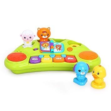 LIPENG-TOY Dibujos Animados Animal Piano Bebé Teclado Bebé Música Piano Juguetes para niños Niños y niñas 1-3 años (Color : Green): Amazon.es: Hogar