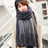 DIDIDD Female Winter Scarf Shawl Thickened All-Match Color,Grey
