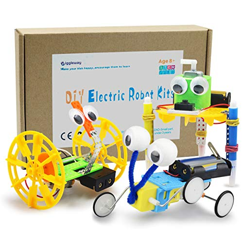 Giggleway Electric Motor Robotic Science Kits, DIY STEM Toys for Kids, Building Science Experiment Kits for Boys and Girls-Doodling, Balance Car, Reptile Robot (3 Kits) -