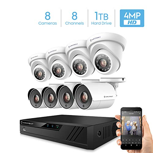 Amcrest UltraHD 4MP 16CH Home Security Camera System with 8 x 4-Megapixel Weatherproof Outdoor Security Cameras, 4MP DVR w/Pre-Installed 1TB Hard Drive, Night Vision, BNC Cables (AMDV40M8-4B4D-W)