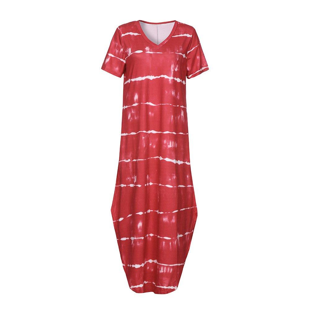 Wobuoke Women Casual Summer Striped Split Tie Dye Long Dress with Pocket