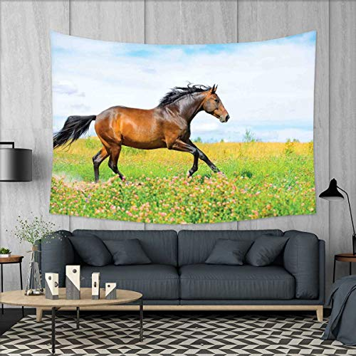 Equestrian Tapestry Wall Hanging 3D Printing Horse Runs Gallop on Flower Meadow Rural Freedom Animal Picture Beach Throw Blanket 60