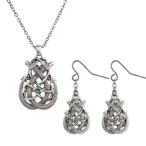 Dragon Celtic Earrings - Mystica Collection Celtic Dragon Pewter Necklace & Earrings Jewelry (Set of 2)