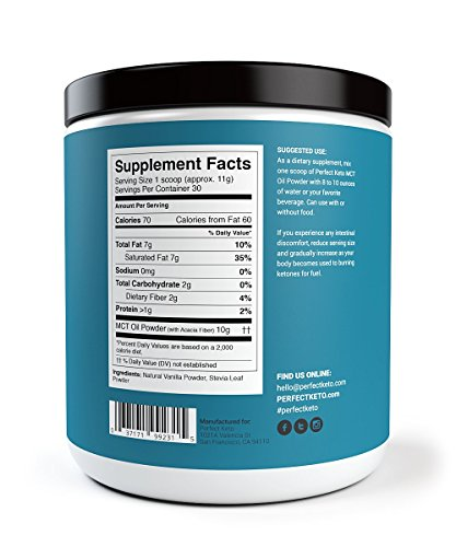 Perfect Keto MCT Oil Powder: Vanilla Ketosis Supplement (Medium Chain Triglycerides - Coconuts) for Ketone Energy - Paleo Natural Non Dairy Ketogenic Keto Coffee Creamer by Perfect Keto (Image #2)