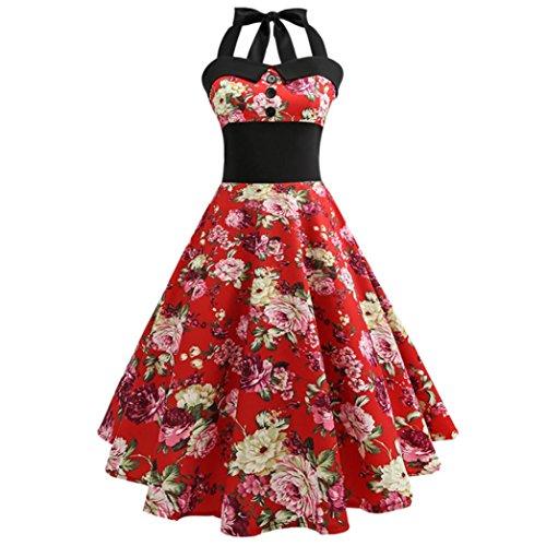 Price comparison product image TAORE Dress Women's Halter Floral 1950s Vintage Swing Tea Dress Cocktail Prom Dress (USXS=AsianL,  Red)