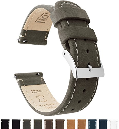 BARTON Quick Release Top Grain Leather Watch Band Strap - Choose Color & Width (18mm, 20mm or 22mm) - Espresso/Linen 22mm
