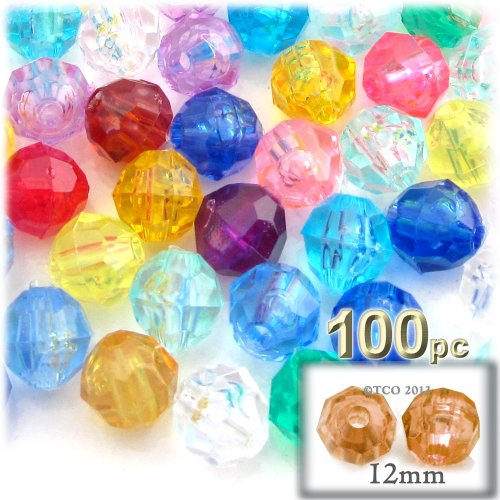 (The Crafts Outlet 100-Piece Faceted Plastic Transparent Round Beads, 12mm, Multi)