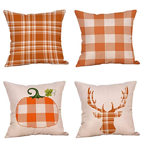 4 Pack Classic Retro Checkers Plaids Throw Pillow Covers Pumpkin Deer Fall Seasonal Decorative Pillow Case Soft Cotton Linen Farmhouse Decor Cushion Cover for Sofa Bedroom Car 18 x 18 (Buffalo Check)