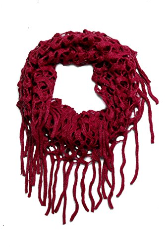 Women's Fashion Knit Infinity Scarves with Fringe (Knit Fringe Scarf)