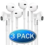 Headphones with Microphone, Certified PowerBoost In-Ear 3.5mm Noise Isolating Earphones Headset for iPhone iPad iPod Laptop Tablet Android LG HTC Smartphones (White) 3 Pack