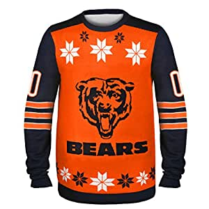 NFL Chicago Bears Almost Right But Ugly Sweater, Medium, Orange