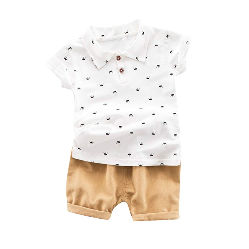 Super X Baby Kids Boys Cartoon Print Polo Tops T-Shirt Solid Short Pant Casual Outfits Set