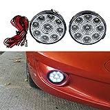 GlobeLED 2 x Cool White Car Auto Round LED Daytime Running Light 9 Leds 12v DC Car Charger Driving DRL Fog Lamp