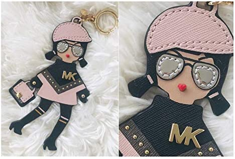 Michael Kors MK Girl Keychain Key Fob Bag Charm Pink and Black