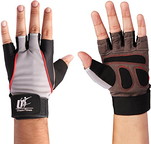 Utopia Fitness Training Gloves (Black - Large) - 100% Leather and Spandex Material - Ideal for Gym - Workout - Weightlifting - Weight Training - Biking - Cycling - Perfect for Men and Women - by
