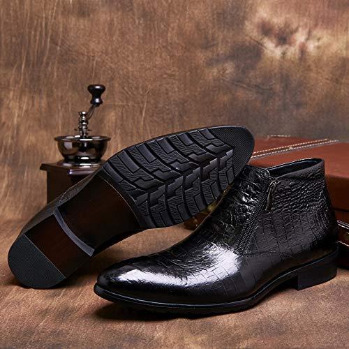 Pelle Da Appuntita Coccodrillo HGDR Martin Punta Stivali Modello D'affari Stivali Uomo A Black Stivali In A SUn7q5nX8