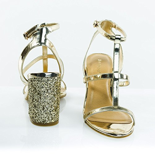 Glitter Tykk Blokk Hæl Sandal, Gladiator T-stropp Sandal Gull Patent