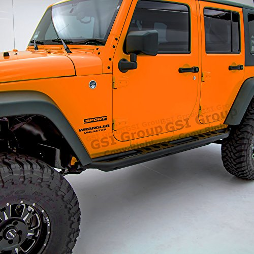 GSI 07-17 Jeep Wrangler Jk Black Textured Body Side Armor Rocker Guard Rock Sliders w/ Step 4 Door Tube Running Boards (Black)